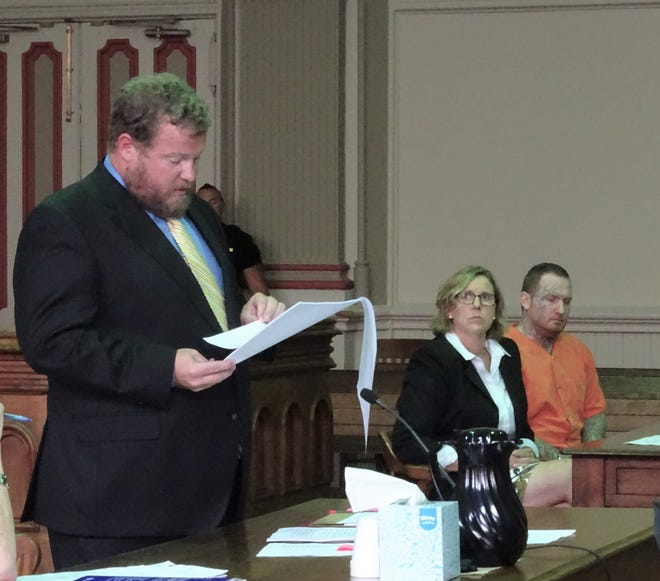 Assistant Prosecutor John Litle reads the statement of facts prior to Ryan Adams being sentenced to life in prison on Wednesday.