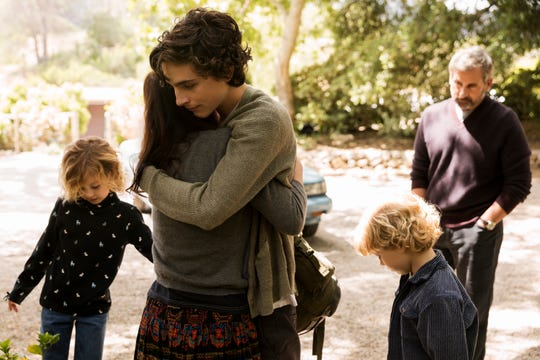"Nic Sheff (Timothée  Chalamet) hugs stepmom Karen (Maura Tierney) in ""Beautiful Boy."""