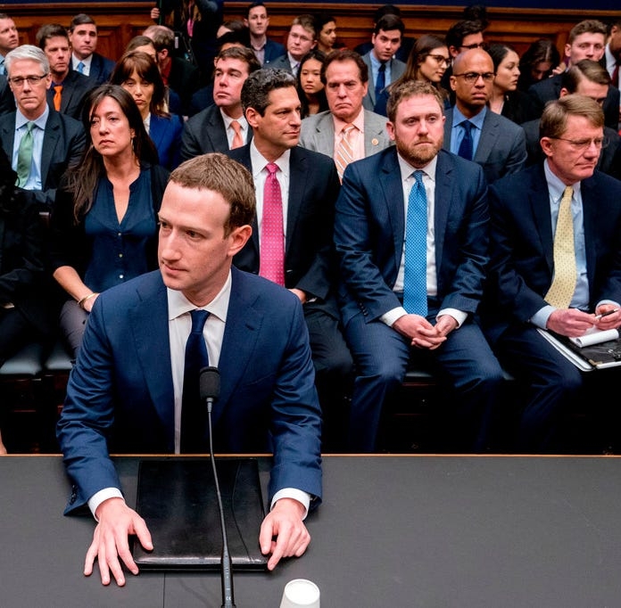 Facebook CEO Mark Zuckerberg testifies on Capitol Hill on April 11, 2018.