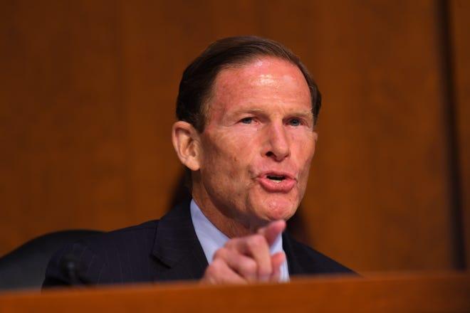 Sen. Richard Blumenthal (D-Conn.)  speaks during the hearing for Supreme Court Associate Justice nominee Brett Kavanaugh on Sept. 4 in Washington.