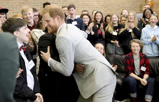 Prince Harry during his visit to Joff Youth Centre.