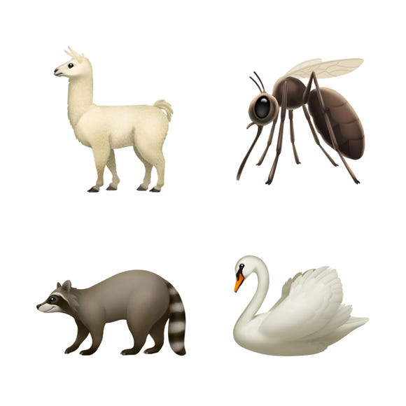 New animals include a llama, mosquito, swan and raccoon.