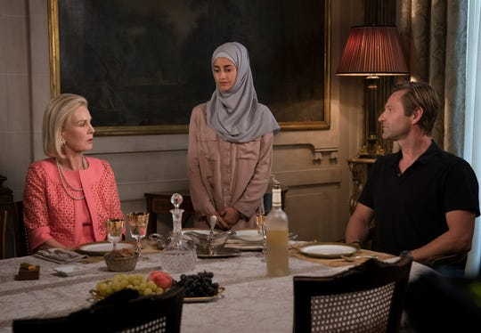 "Marthe Keller, Ines Melab and Aaron Eckhart in ""The Romanoffs."""
