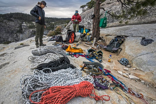Though Alex Honnolds climbed free solo, the documentary crew relied on plenty of ropes and climbing equipment.