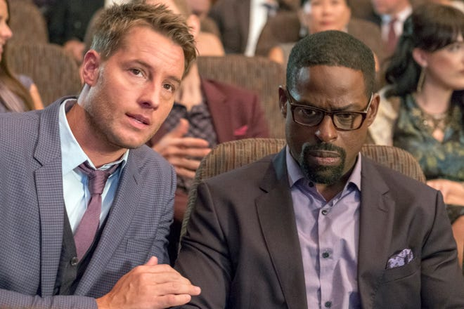 "Justin Hartley as Kevin Pearson, Sterling K. Brown as Randall Pearson on ""This Is Us."""