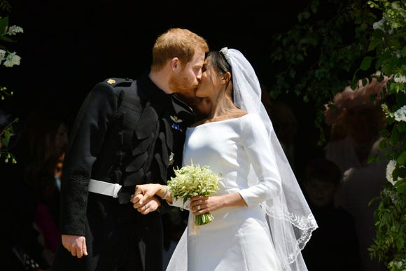 Prince Harry and Meghan Markle leave after their wedding ceremony at Windsor Castle in Windsor, England on May 19, 2018.