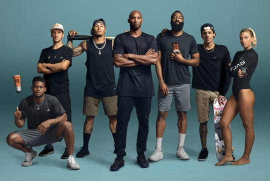 Kobe Bryant (center) has several athletes as brand ambassador for his new venture, AOS skin care products.
