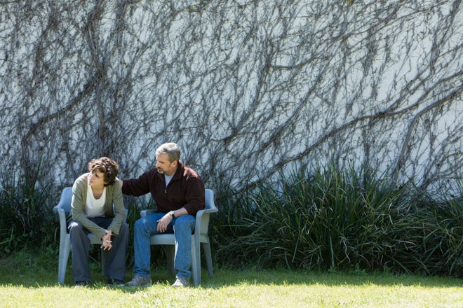 "David Sheff (Steve Carell, right) helps son Nic (Timothée Chalamet) through his addiction in ""Beautiful Boy."""