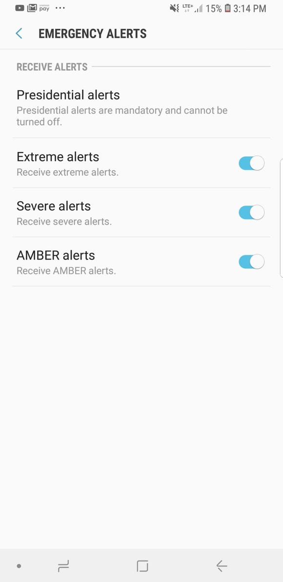 Emergency Alerts can be turned off on a Galaxy Note 9 by going into the Messages app.