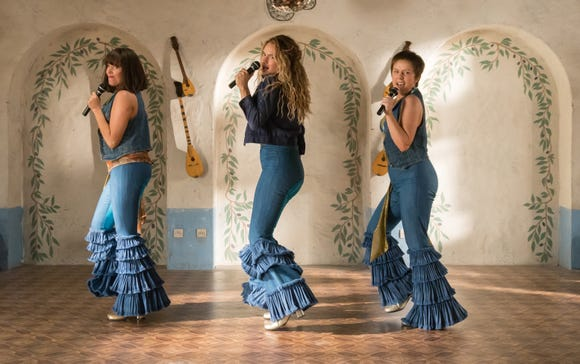 """Young Tanya (Jessica Keenan Wynn), Young Donna (Lily James) and Young Rosie (Alexa Davies) in """"Mamma Mia! Here We Go Again."""""""