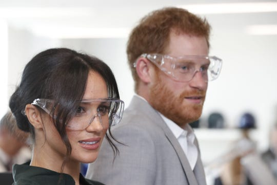 harry and Meghan donned protective eyewear for their visit to the University of Chichester Technology park in Chichester, West Sussex.