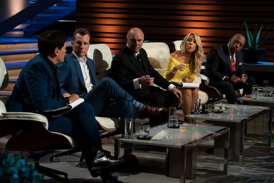 "Mark Cuban (left), Ring founder Jamie Siminoff, Kevin O'Leary, Lori Greiner and Daymond John in the 10th season premiere (and 200th episode) of ABC's ""Shark Tank."""