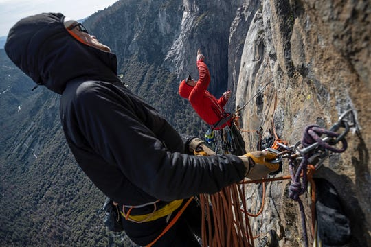 Before Alex Honnold (wearing red) climbed El Capitan without a rope, he and mountaineer Conrad Anker accessed the wall's Freerider route while harnessed in.