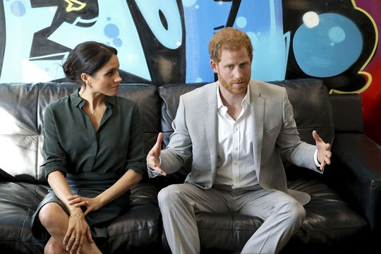 Harry and Meghan meet with locals at the Joff Youth Centre in Peacehaven in East Sussex, where they discussed plans and priorities for addressing mental and emotional health issues.