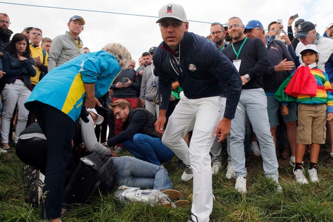 American golfer Brooks Koepka hit an  errant tee shot Sept. 28 at the Ryder Cup that caused spectator Corine Remande to lose sight in her right eye. The 49-year-old woman from Egypt was watching the action at Le Golf National near Paris when Koepka's wayward drive at the par-4 sixth hole struck her in the face.