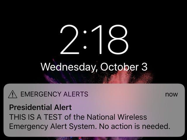FEMA sends test of 'presidential alert' system to cellphones