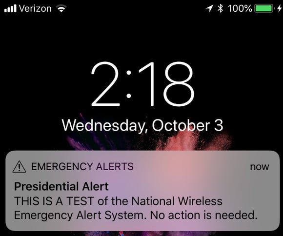 A screenshot of the 'Presidential Alert' test.