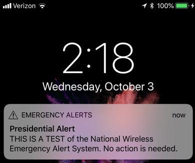 A screenshot of the 'Presidential Alert' test.