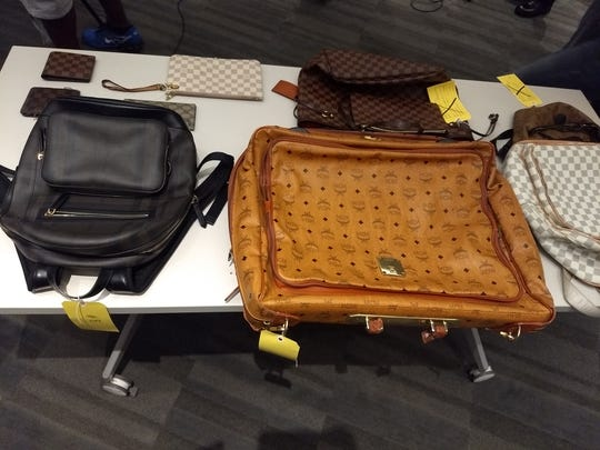 The Los Angeles Police Department displayed stolen items recovered from one of the suspect's home at a press conference on Oct. 10, 2018, at the headquarters.