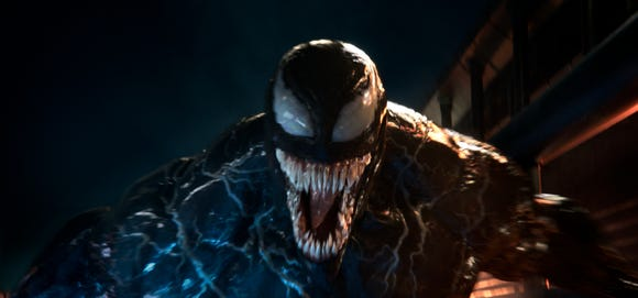 "Don't mess with this carnivorous alien. Tom Hardy stars as the title character in ""Venom."""