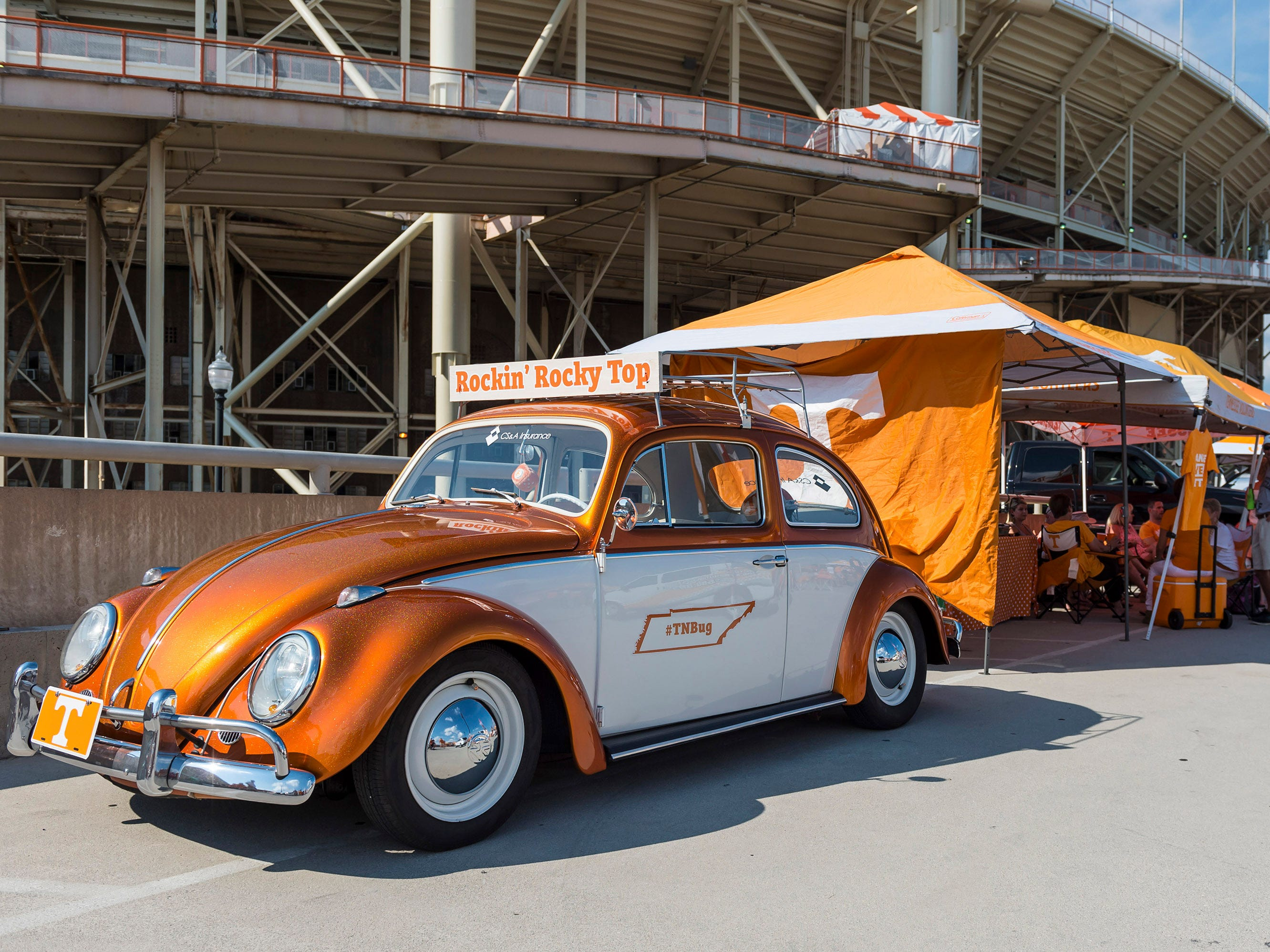 Fans tailgating outside of Neyland Stadium before a game between the Tennessee Volunteers and Florida Gators, Sept. 22, 2018, in Knoxville.