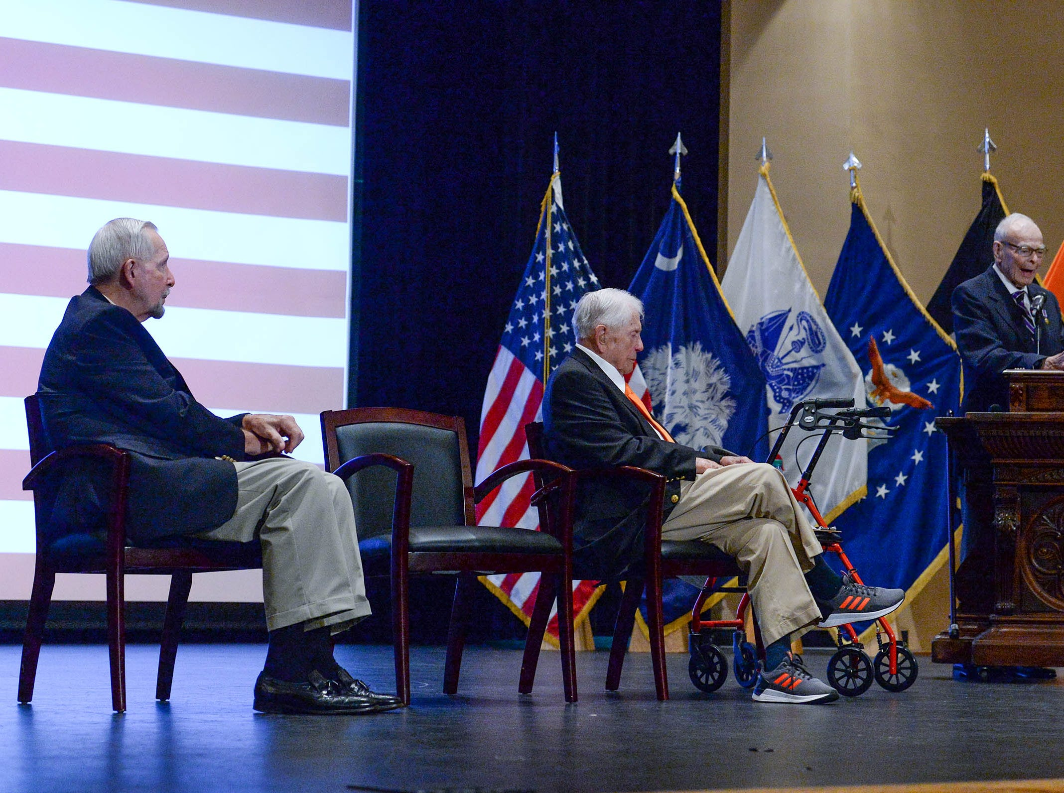 Living Prisoners of War, Col. Ben Skardon, 1st Lt. Bill Funchess, and Col. Bill Austin spoke in Tillman Hall at Clemson University  on Thursday. Funchess was held captive for 1,038 days by the North Korean Army, Austin in North Vietnam for 1,986 days, and Skardon for 1,255 days.