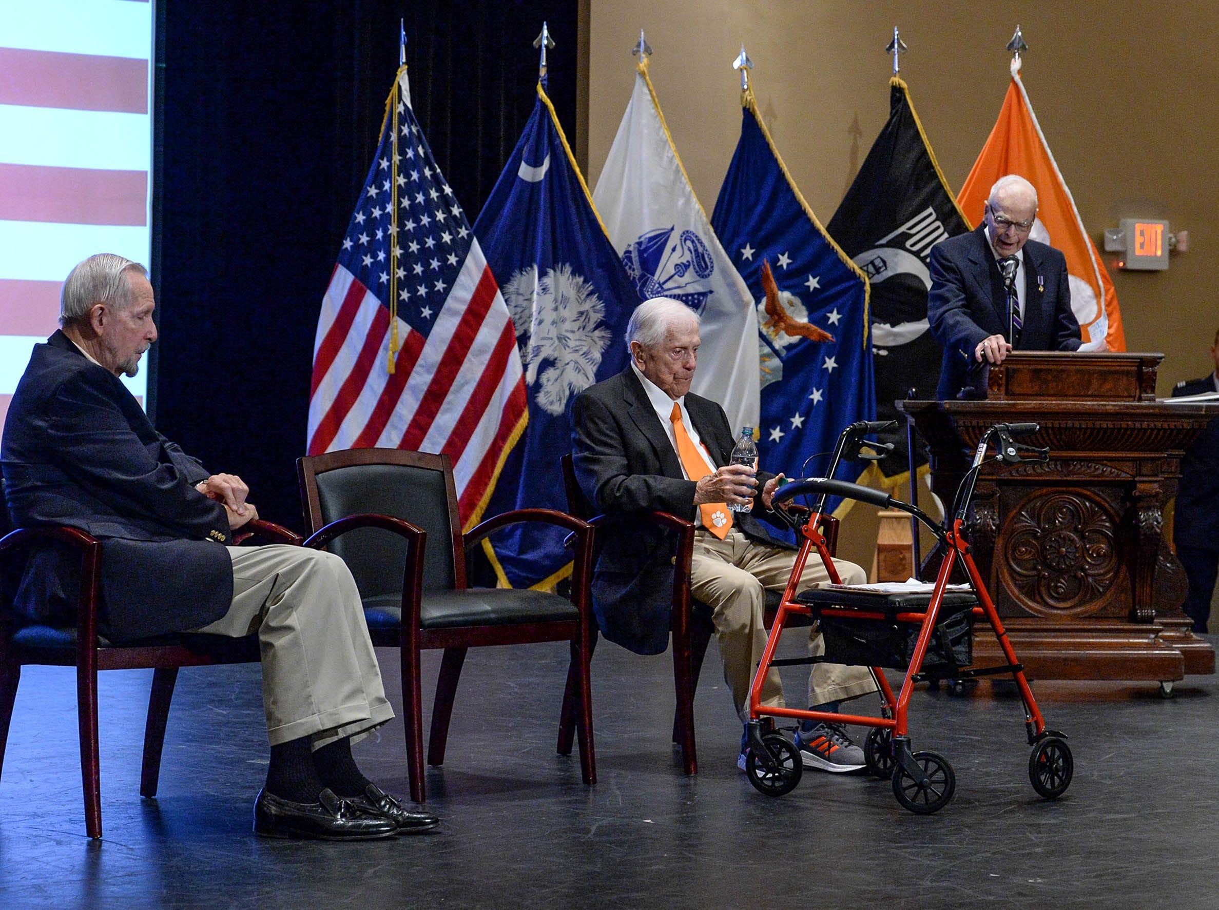 Clemson University invited three Living Prisoners of War to speak in Tillman Hall at Clemson University on Thursday.  Col. Ben Skardon, middle, 1st Lt. Bill Funchess speaking, and Col. Bill Austin, left, at the event.