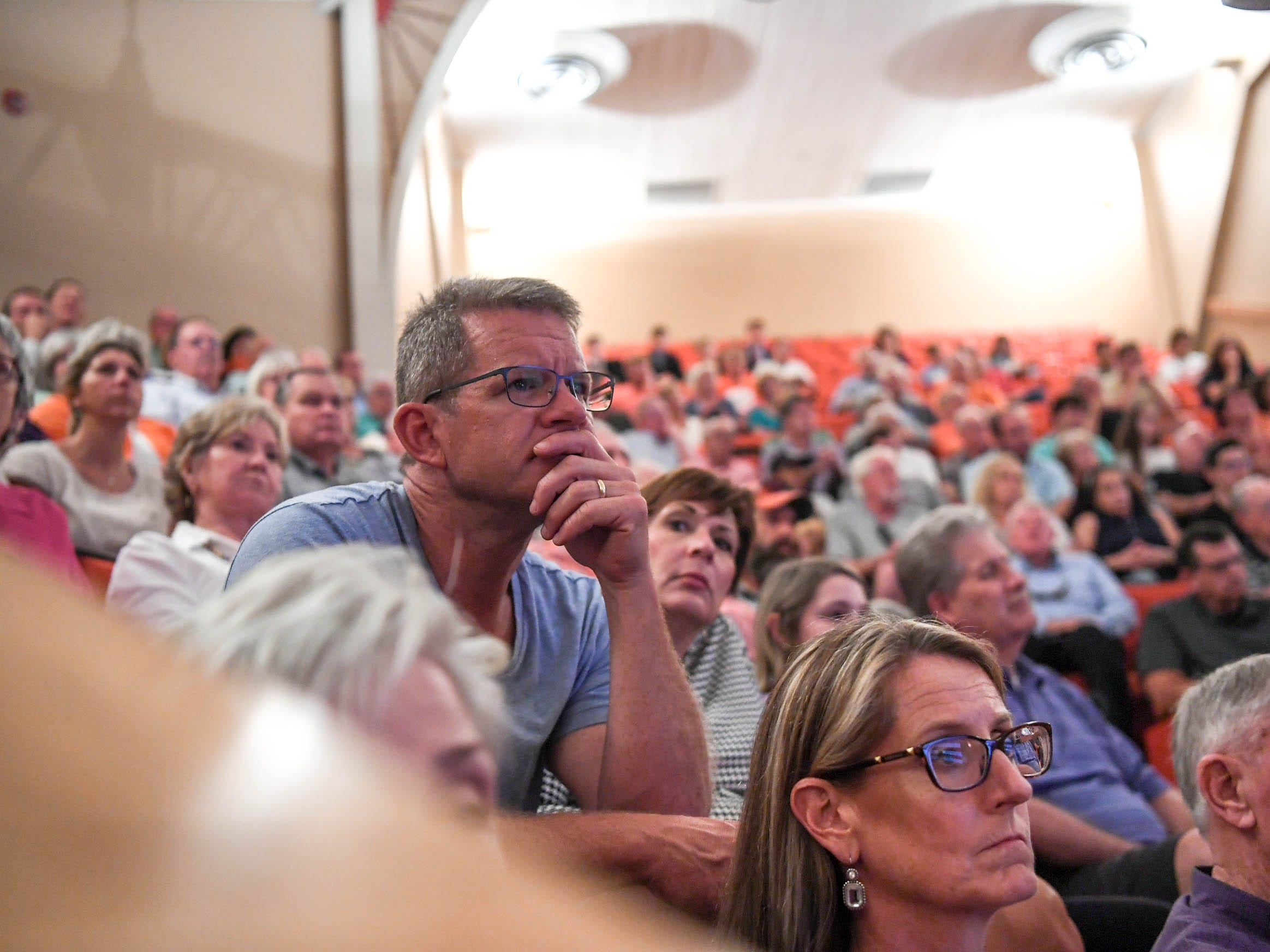 Clemson University visitors, faculty, and ROTC listen to three Living Prisoners of War in Tillman Hall at Clemson University  on Thursday.  Col. Ben Skardon, 1st Lt. Bill Funchess, and Col. Bill Austin spoke.