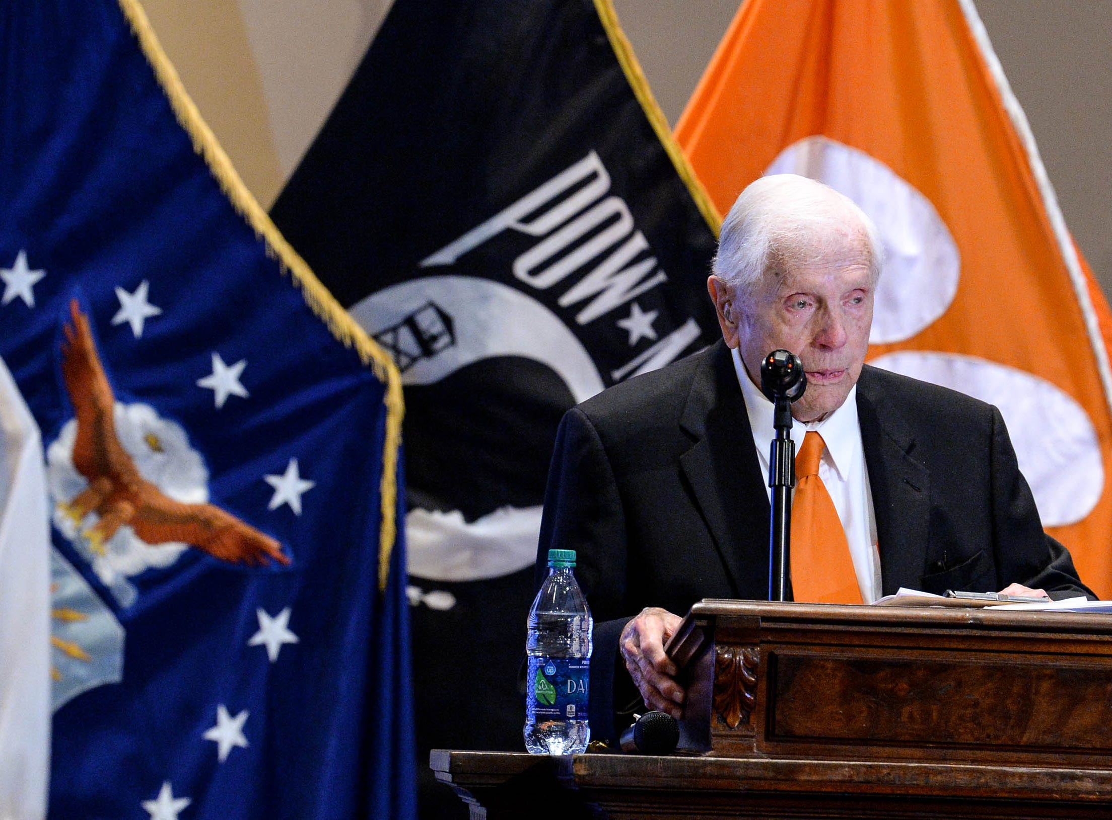 Living Prisoner of War Col. Ben Skardon speaks in Tillman Hall at Clemson University  on Thursday.