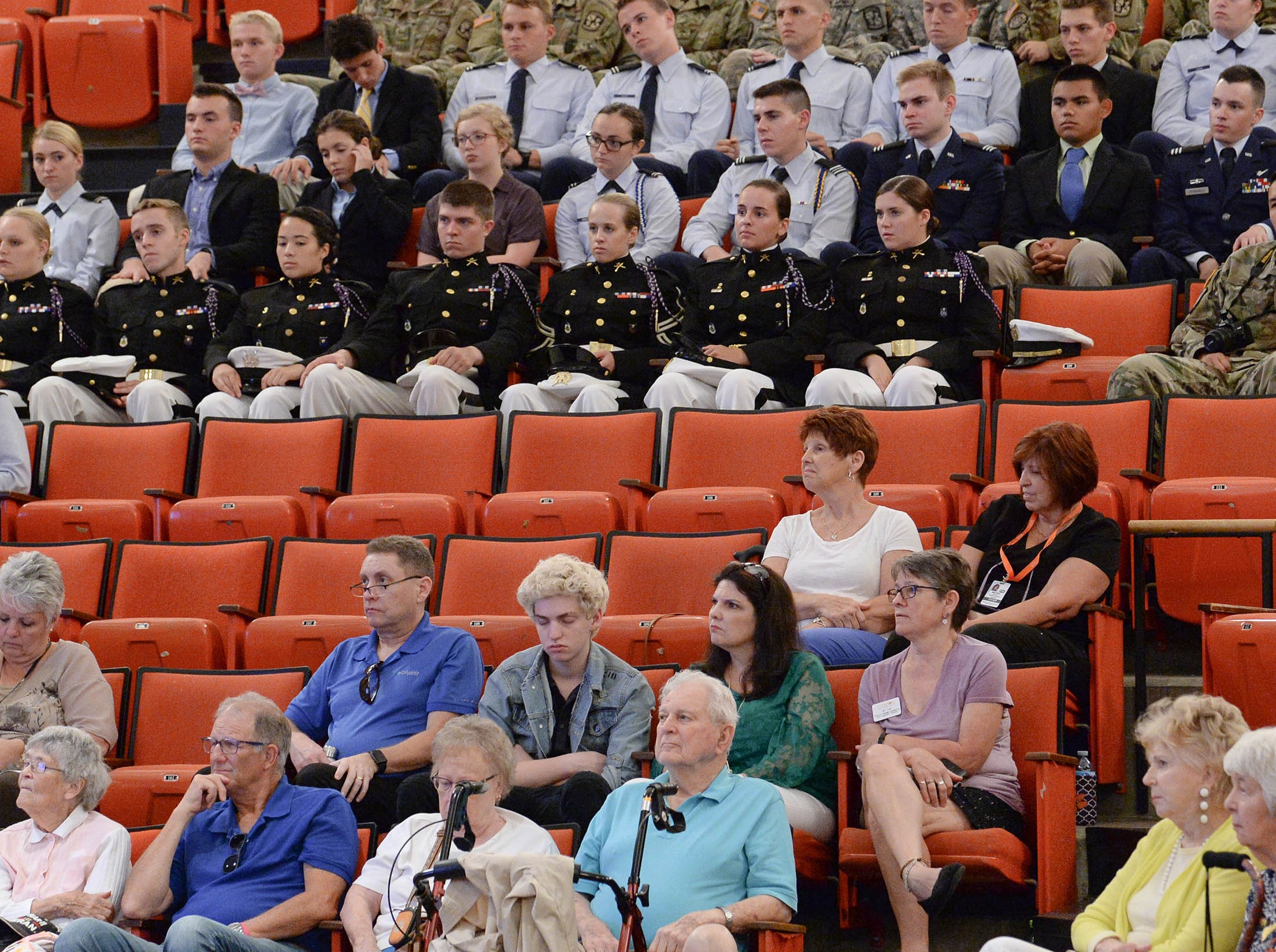 Clemson University ROTC listen to three Living Prisoners of War in Tillman Hall at Clemson University  on Thursday.  Col. Ben Skardon, 1st Lt. Bill Funchess, and Col. Bill Austin spoke.