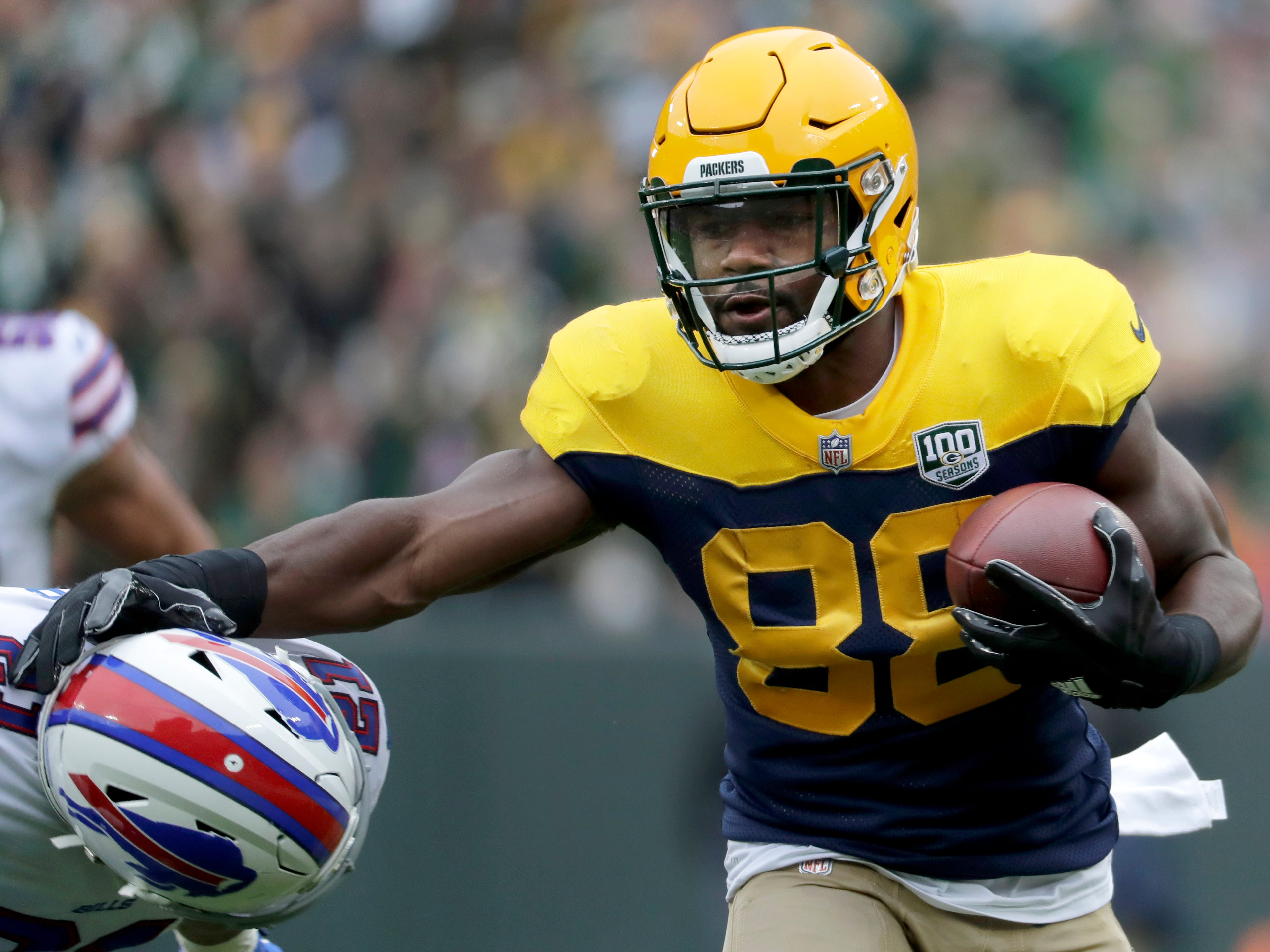 Green Bay Packers running back Ty Montgomery on a first quarter catch and run against the the Buffalo Bills on Sunday, September 30, 2018, at Lambeau Field in Green Bay, Wis. 