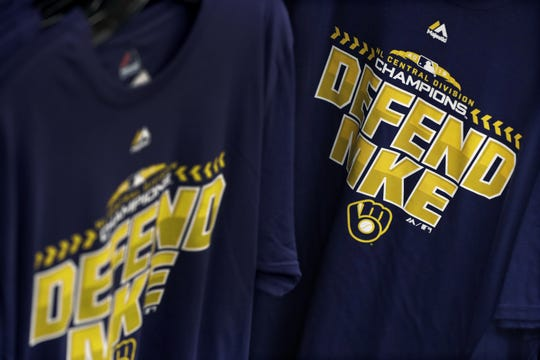 Post-season Brewers attire, including T-shirts, hang in Scheels at the Fox River Mall.