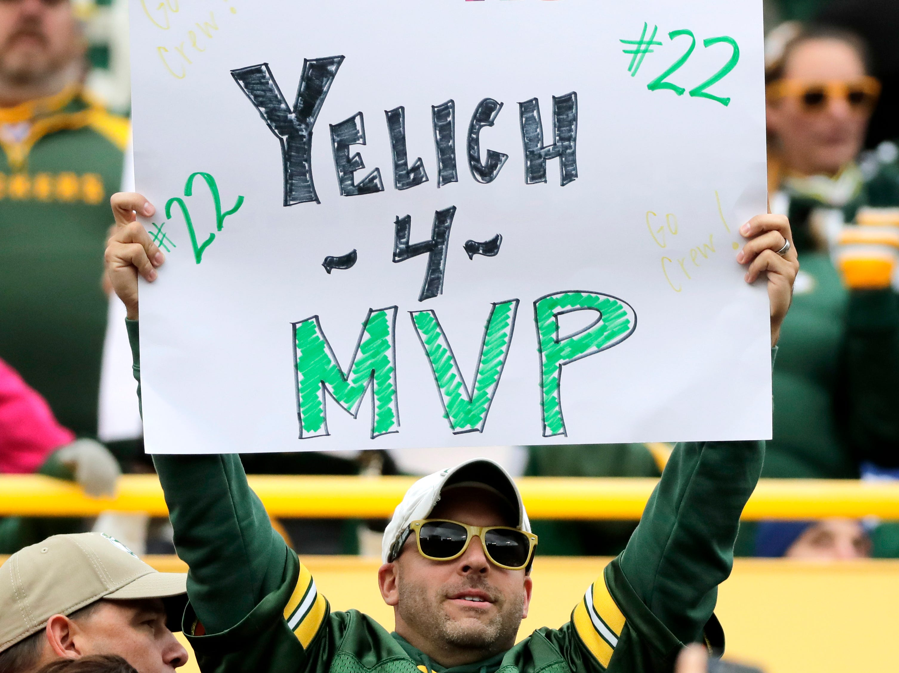 A Brewers in the stands as the Green Bay Packers host the Buffalo Bills on Sunday, September 30, 2018, at Lambeau Field in Green Bay, Wis. 