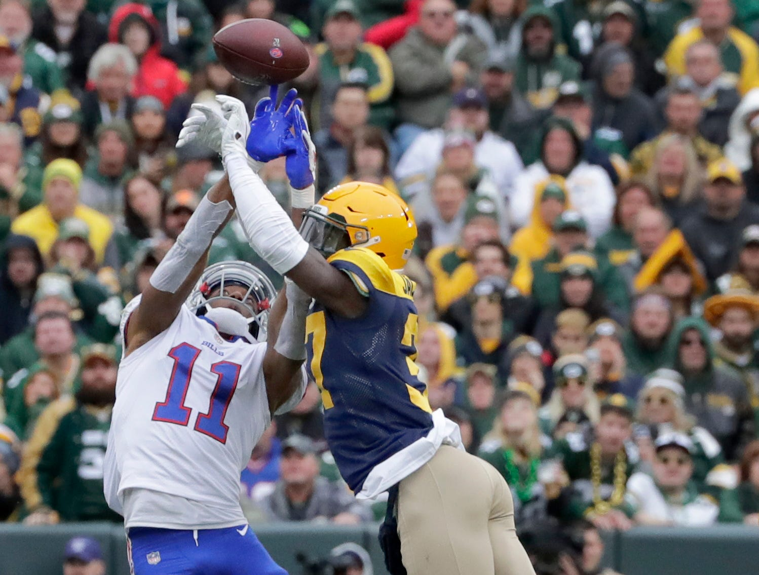 Green Bay Packers cornerback Josh Jackson breaks up a pass intended for Buffalo Bills wide receiver Zay Jones on Sunday, September 30, 2018, at Lambeau Field in Green Bay, Wis. 