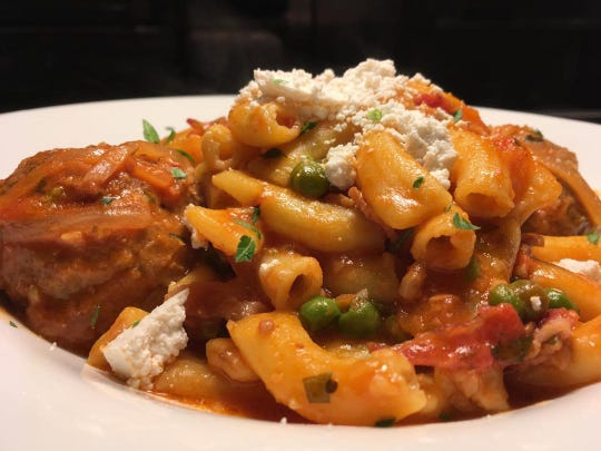Rigatoni with bacon, meatballs, peas and ricotta salata at Neapoli, previously Gaetano's, in Red Bank,