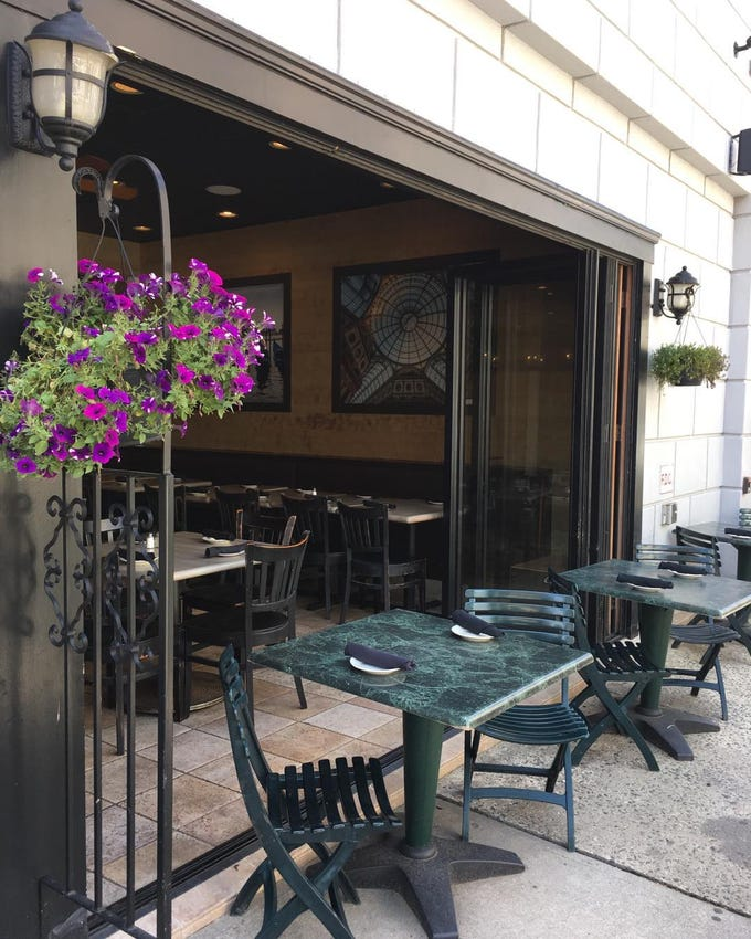 The outdoor dining space at Neapoli, formerly Gaetano's, on Wallace Street in Red Bank.