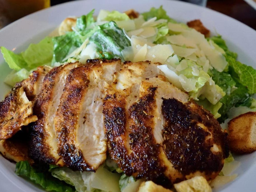 A chicken-topped Caesar salad at Jamian's Food and Drink in Red Bank.