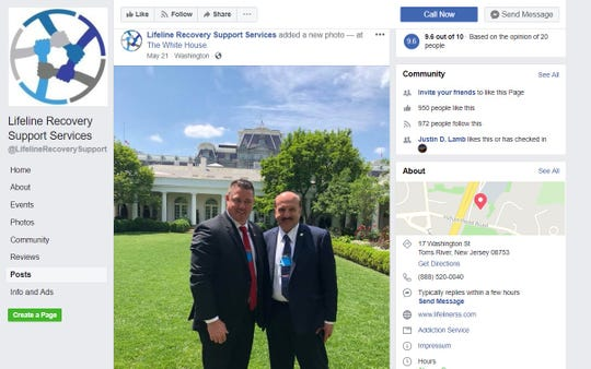 Screengrab of Lifeline Recovery Support Services Facebook page showing John Brogan, left, and Ocean County Prosecutor Joseph Coronato posing on the White House lawn on May 21, 2018.
