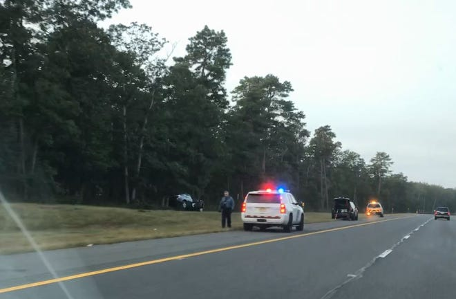 A passenger car left the roadway on the southbound Garden State Parkway Thursday morning.