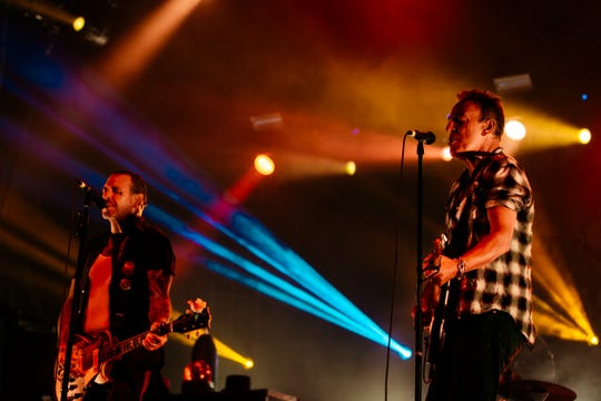 Bruce Springsteen, right, and Mike Ness of Social Distortion at the Sea.Hear.Now fest in Asbury Park, Sept. 30, 2018.