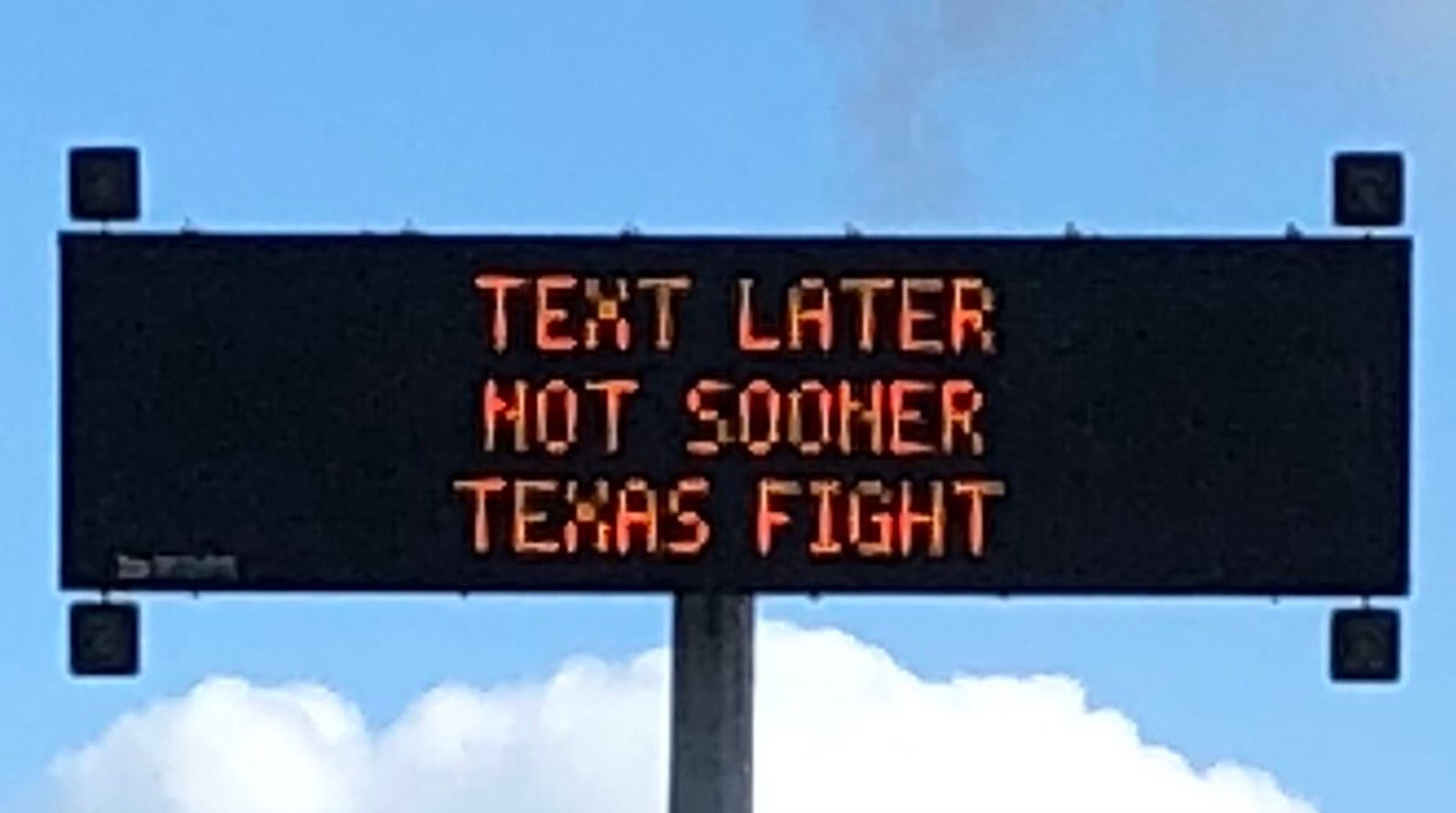txdot is getting in on ut ou red river rivalry hype with no texting