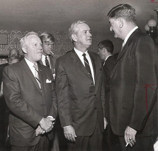 From left, Abilene attorney Tom Gordon and Gov. John Connally talk with Abilene Mayor Ralph Hooks at a dinner July 29, 1968, at the Golden Stagecoach Restaurant at Old Abilene Town.