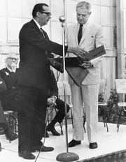 Brown County Historical Survey Committee chairman Fred Carpenter, presents the first map the Brown County Trail to Gov. John Connally during a stop on a 1968 tour of the Texas Forts Trail.