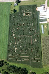 """This year's Stoughton Farm Corn maze is a """"Celebration of Carousels."""""""