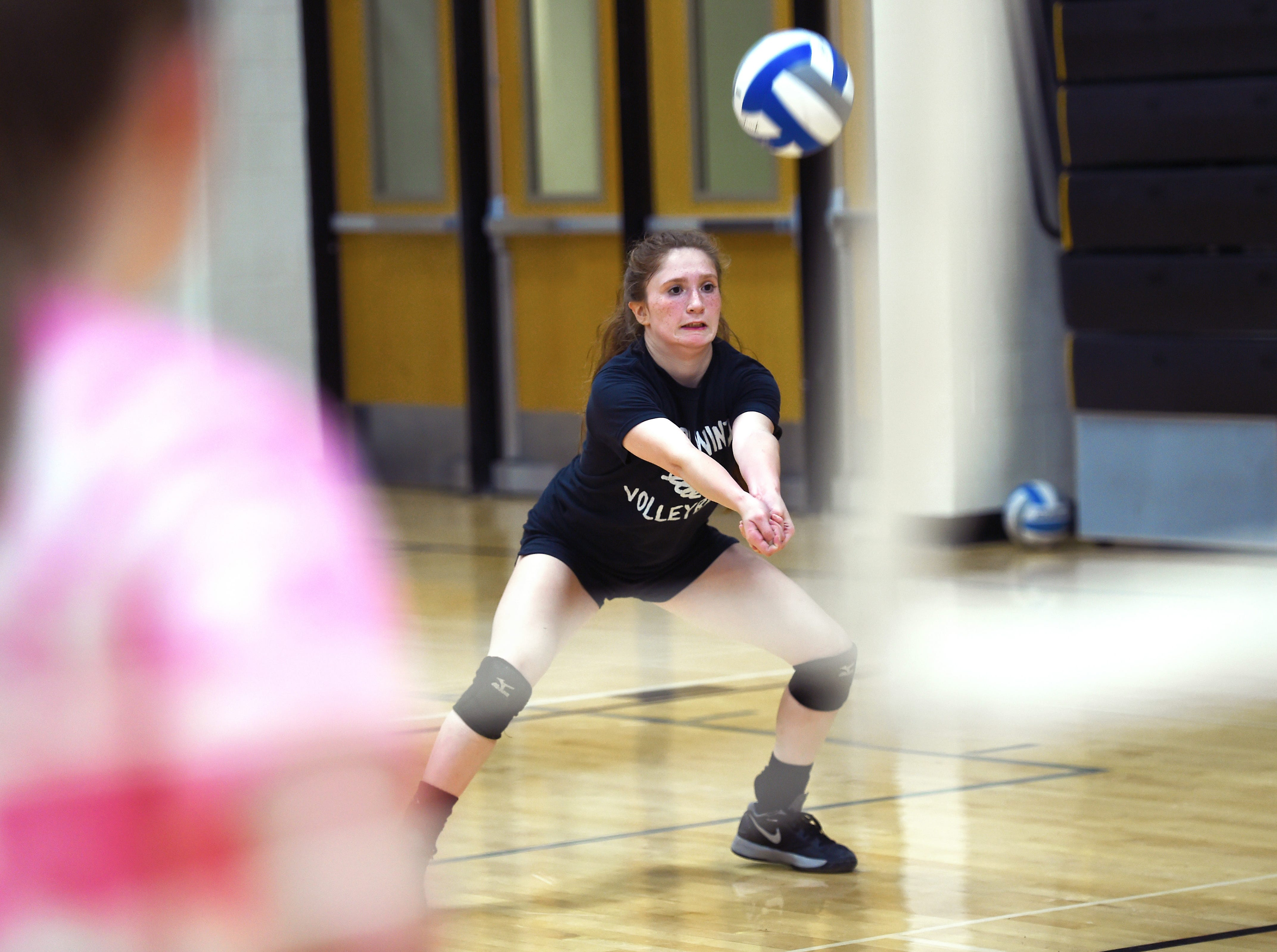 Alexis Hendrickson, a senior volleyball standout at Windsor High School, recently established a program record for all-time digs. October 3, 2018.