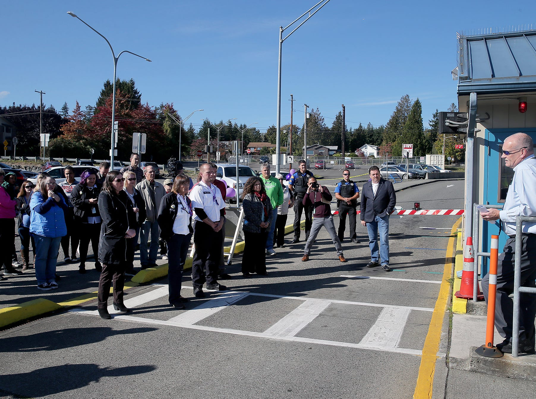 Washington State Ferries Southworth Terminal supervisor Phil Olwell, talks about working with  former Washington State Ferries employee Katie Phillips during a small memorial for her on Thursday, October 4, 2018. Phillips passed away at a tragic accident on the Highway 160 site near Long Lake in Port Orchard.