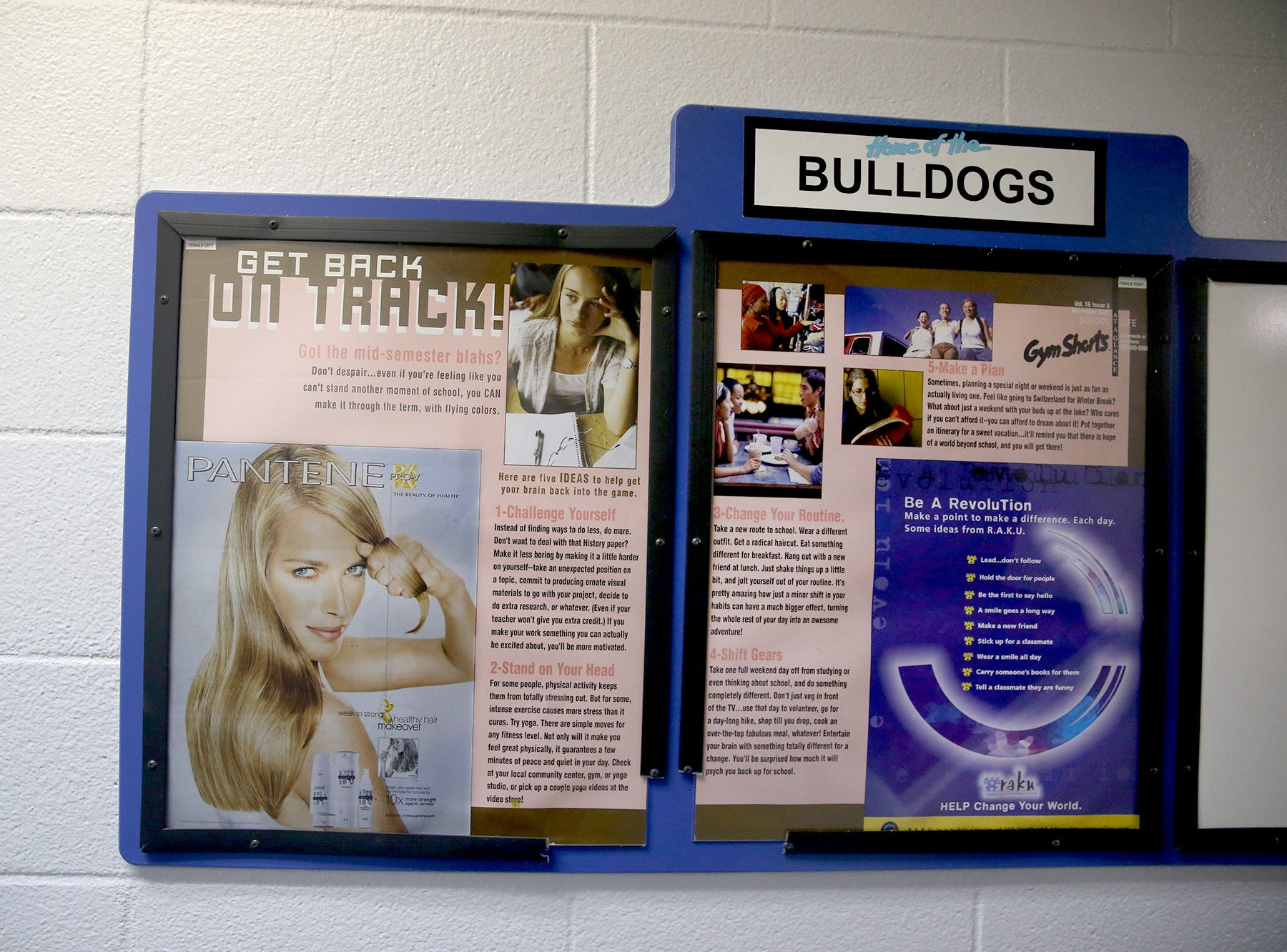 Printed materials left inside the girls locker room in the  the old gymnasium,.