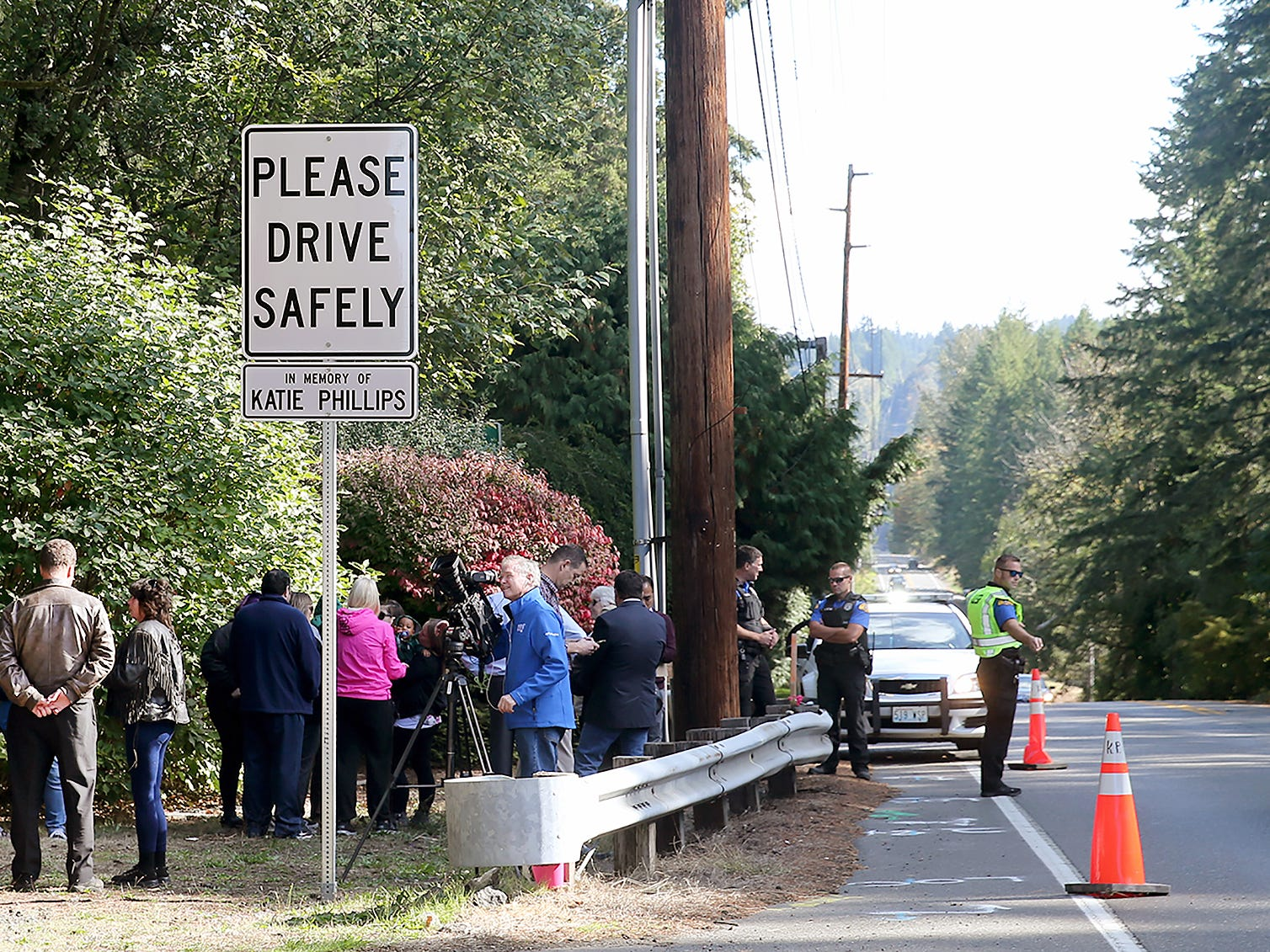 A memorial sign for Washington State Ferries employee Katie Phillips was unveiled on the shoulder the Highway 160 site near Long Lake in Port Orchard, on Thursday, October 4, 2018.