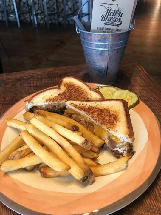 The smoked brisket grilled cheese is one of the most popular items on the new Hell 'n Blazes Brewing Company menu.