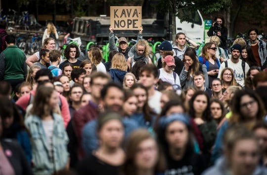 Hundreds of University of Vermont students protest Supreme Court nominee Brett Kavanaugh on Thursday, Oct. 4, 2018, in support of Christine Blasey Ford, who has accused him of sexual assault when the two were teenagers.